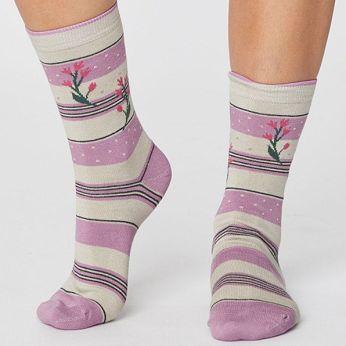 bamboesokken, 'floral' orchid pink, maat 38-41 (370)